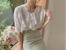 Женская шифоновая блузка большого размера летний костюм с короткими