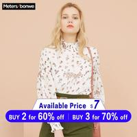 Metersbonwe Women Floral Printing Blouses 2019 New Fashion Loose Sweet Girls Student Official Blouse Shirt Casual Tops