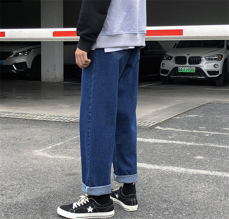 New Men`s Wide Leg Jeans Denim Trousers Casual Loose Male Straight Pants Solid Color Hip Hop Trousers Streetwear Plus Size (10)