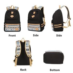 Image 3 - Conjunto de 3 uds. De mochila de lona de lunares, mochila de instituto, mochilas ligeras para ordenador portátil para chicas adolescentes, con bolsa aislada + estuche para lápices