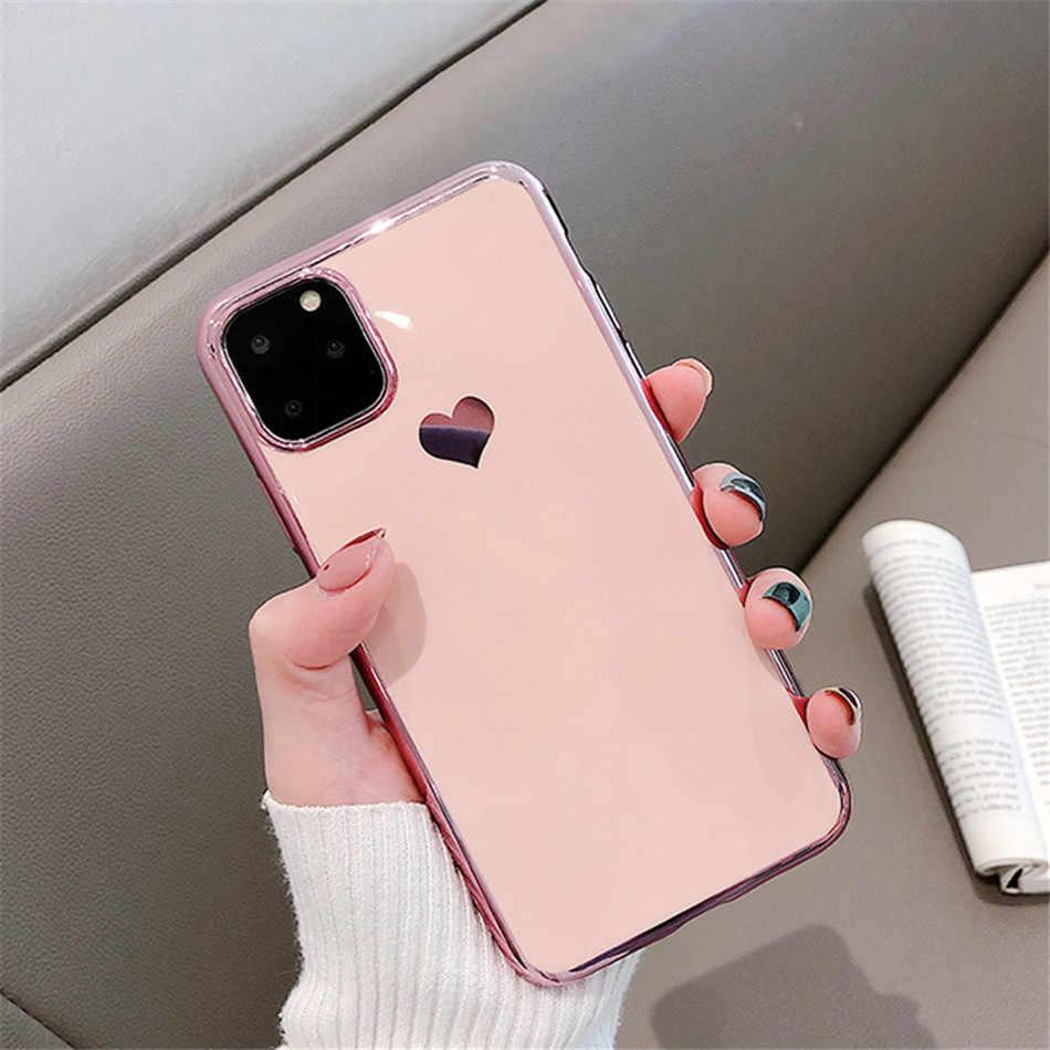Silicone coração amor caso cupom para iphone 6 s 7 8 plus x xs max xr 11 pro max casos funda magro para iphone 11 caso coque
