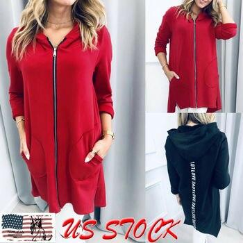 Women Plain Fleece Hooded Coat Sports Zip up Jacket Outwear Ladies Solid Zipper Fashion Clothing