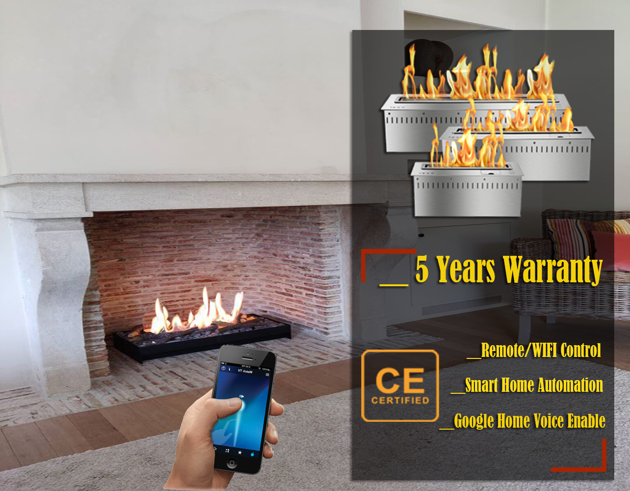 On Sale  18'' Free Shipping Modern Remote Fireplace Ethanol Smart Chimney Indoor