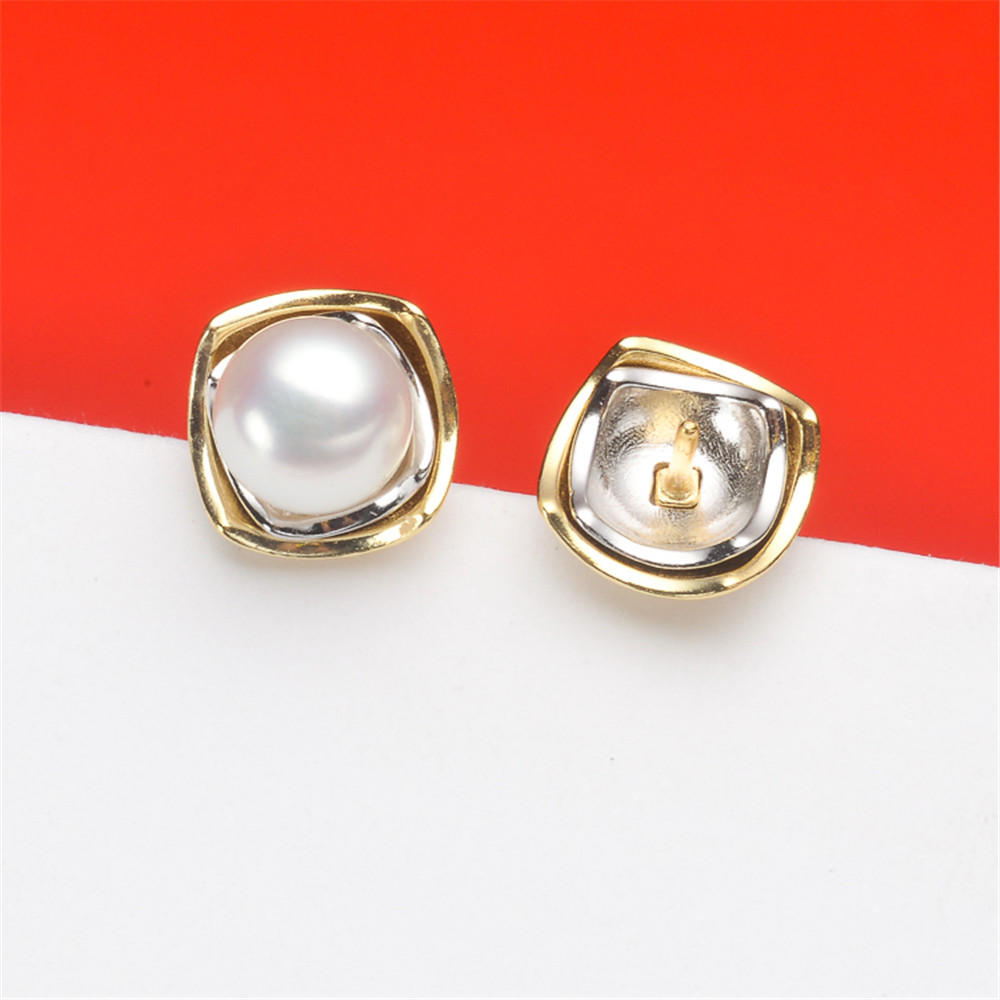 S925 Sterling Silver Flash Design Pearl Earrings Holder Women DIY Pearl Earrings Components Silver Gold Color