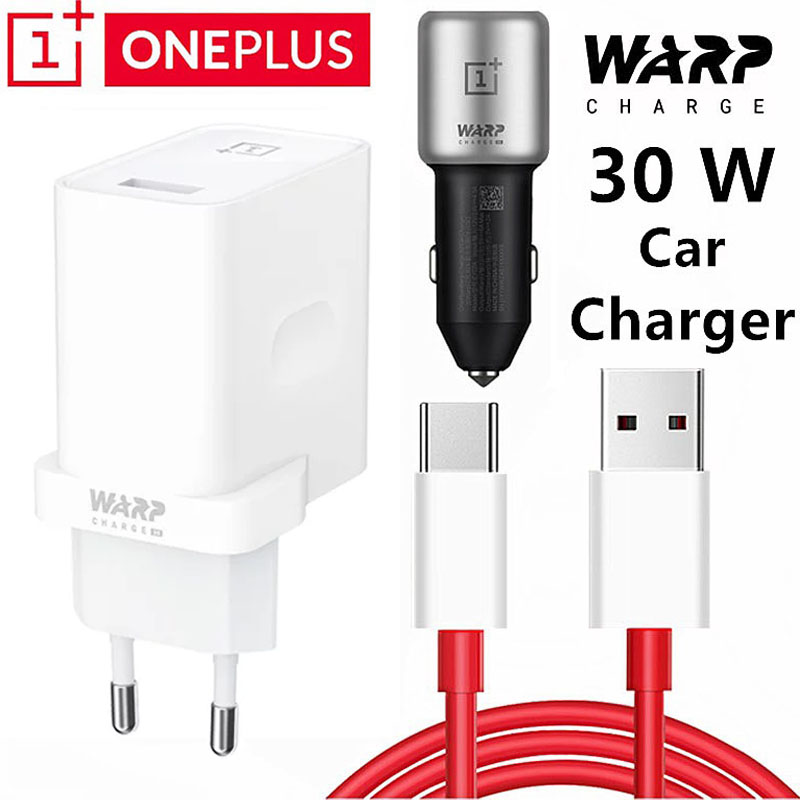 Original Oneplus 7T Pro Charger 30W Power Adapter 30 Car Charge 6A Usb Type C Cable Oneplus 8 7 7t 7 Pro 6 6t 5V/6A Warp Charger