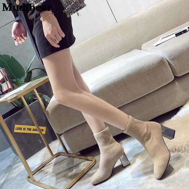 Купить новинка 2020 женские вязаные ботинки носки mudibear на высоком картинки цена