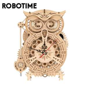 Robotime Mechanical Gear Wooden Owl Clock 3D Assembly Building Kits DIY Puzzle Games Model Gifts for Children Adult Teens LK503