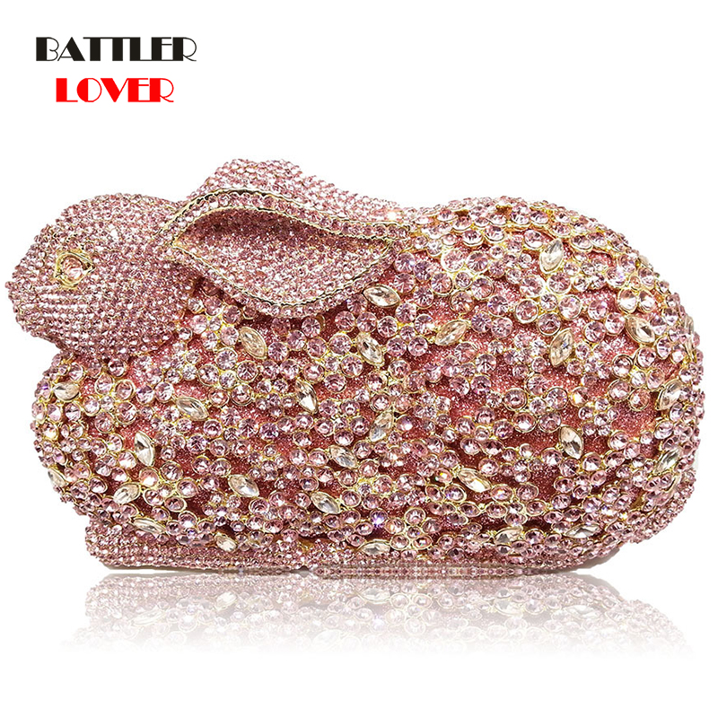 Women Bag Luxury Rabbit Bunny Women Gold Crystal Minaudiere Clutch Evening Bag Diamond Wedding Party Bridal Animal Handbag Purse