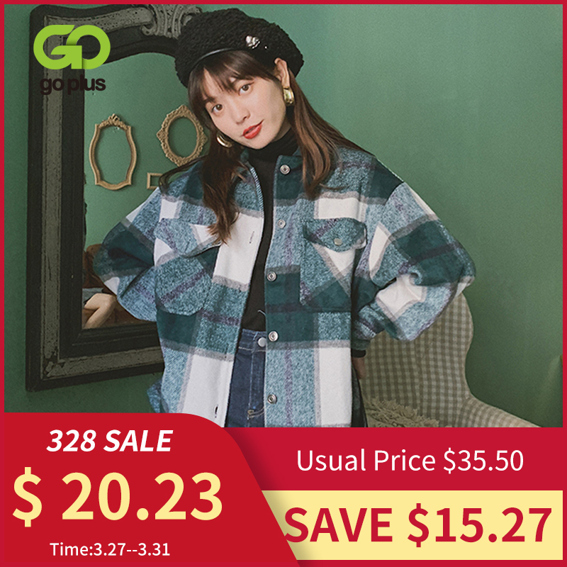 Winter Vintage Women's Blouse Shirt Plaid Oversized Pockets Shirt Outwear Clothing For Women Ropa Mujer Womens Tops And Blouses