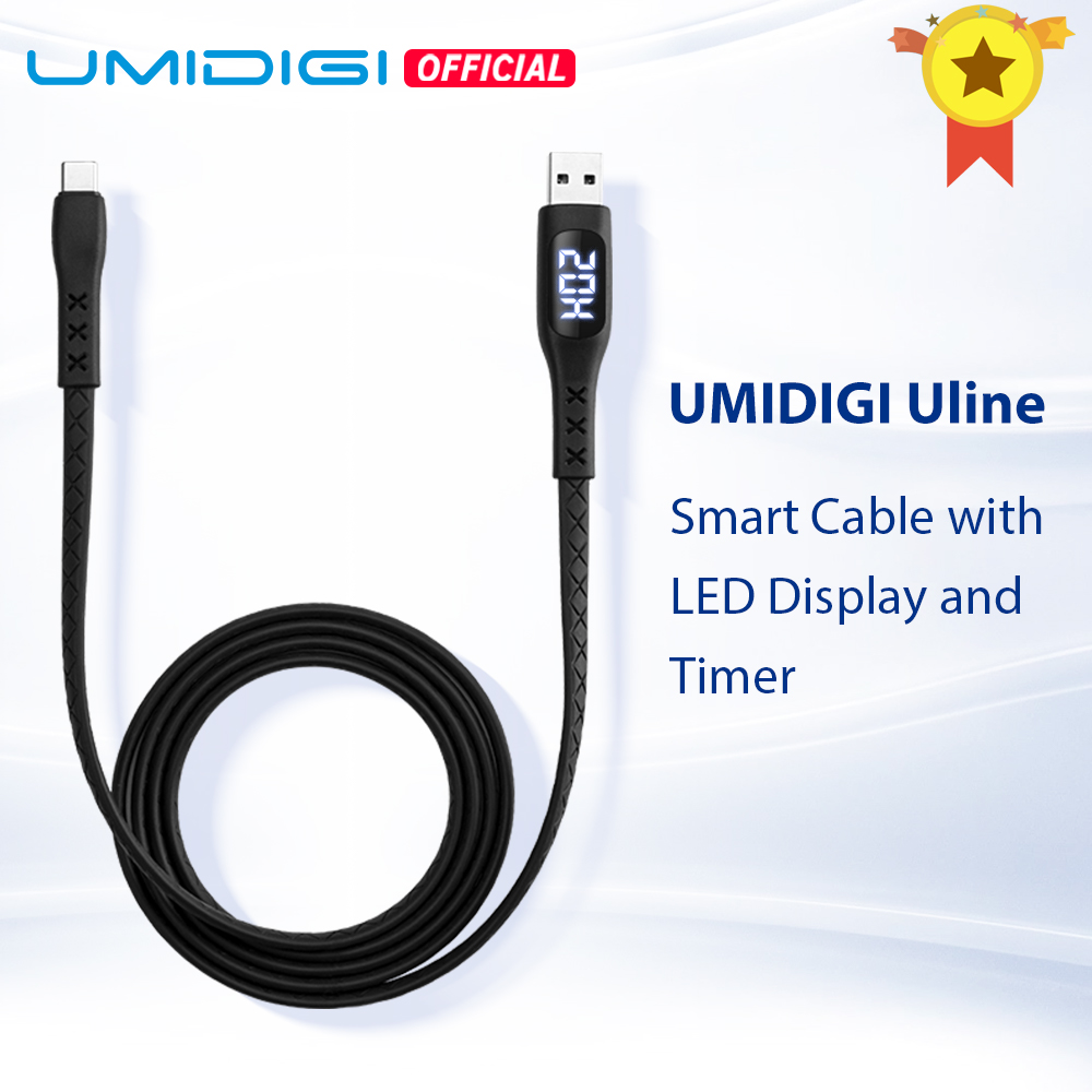 UMIDIGI Uline USB Type C Cable With LED Display Timer Auto Power Off  For UMIDIGI Xiaomi Huawei Samsung Smartphone Fast Charging