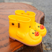 2019 New Children's Rain Boots Boy Girl Non-slip Shoes Fashion Short Tube PVC Boots Cute Cartoon Yellow Duck Shoes(China)