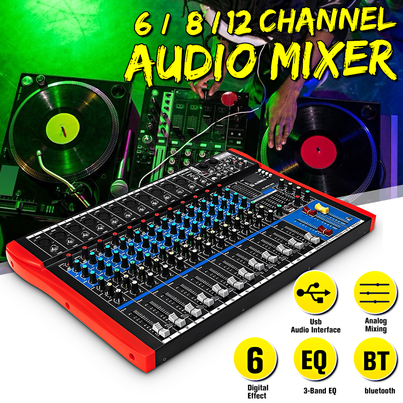48V Audio Mixer With USB Professional 12 Channel Bluetooth Studio DJ Mixing Console Karaoke Amplifier Digital KTV Sound Mixer
