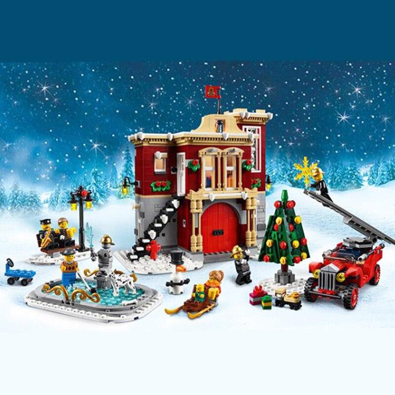 1197pcs Holiday Winter Village Fire Station 11041 Model Building Kit Blocks Bricks Compatible With Legoinglys Friends XMAS 10263
