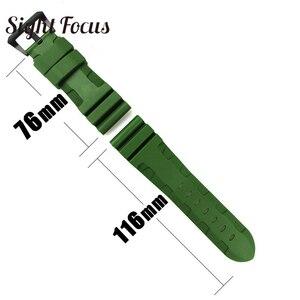Image 4 - 24mm 26mm צלילה שעון להקות PAM גומי סיליקון רצועת Pre v אבזם שעון יד צמידי ספורט להקת Div שעון רצועות Orologio