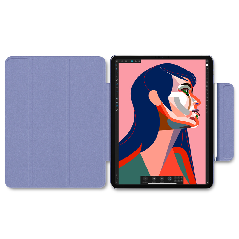 For iPad Pro 2020 12 9 inch case Smart cover Tri fold magnet Back protector Buckle