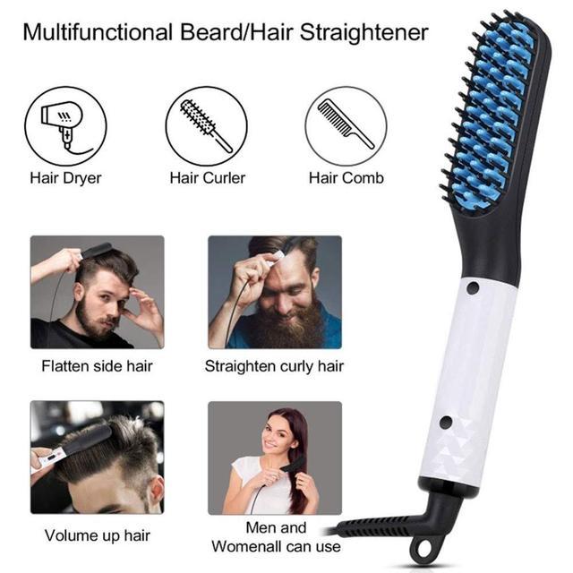 Multifunctional Beard Straightener Heated man's Hair Beard Flat Iron Quick  Straightening Beard Brush Show Cap Tool Dropshipping 2