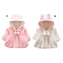 Детское теплое зимнее пальто; пальто для маленьких мальчиков и девочек; однотонная толстовка с капюшоном и длинными рукавами с принтом в виде ушей; верхняя одежда