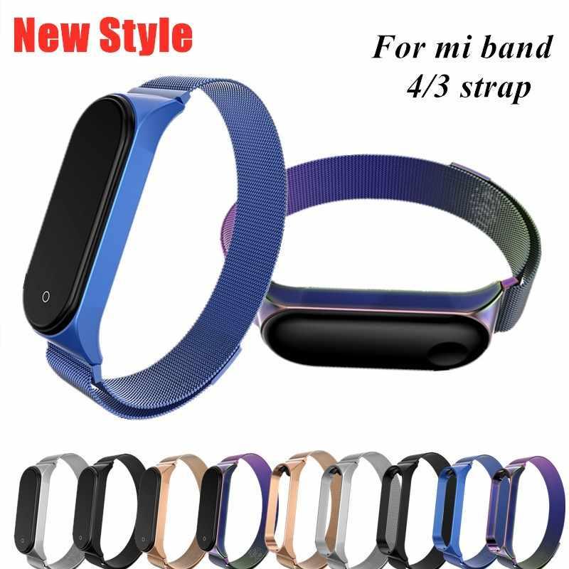 מתכת צמיד עבור xiaomi mi band 3 רצועת פלדה Wristbands עבור xiaomi mi band 4 3 צמידי mi Band 3 4 יד רצועות אבזרים