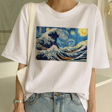 T-shirts femininas van gogh oversized t camisa arte pintura engraçado impressão de manga curta harajuku ullzang tshirt moda topos feminino
