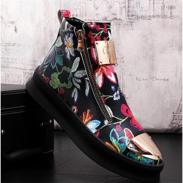 Zapatos bordados de estilo británico para hombre, zapatillas de lujo informales de goma inferior, color dorado y rojo, alta calidad, 2019 5