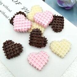 10 pçs/lote comida cabochão bonito resina em forma de coração biscoito plana de volta para scrapbooking artesanato enfeite decoração móvel