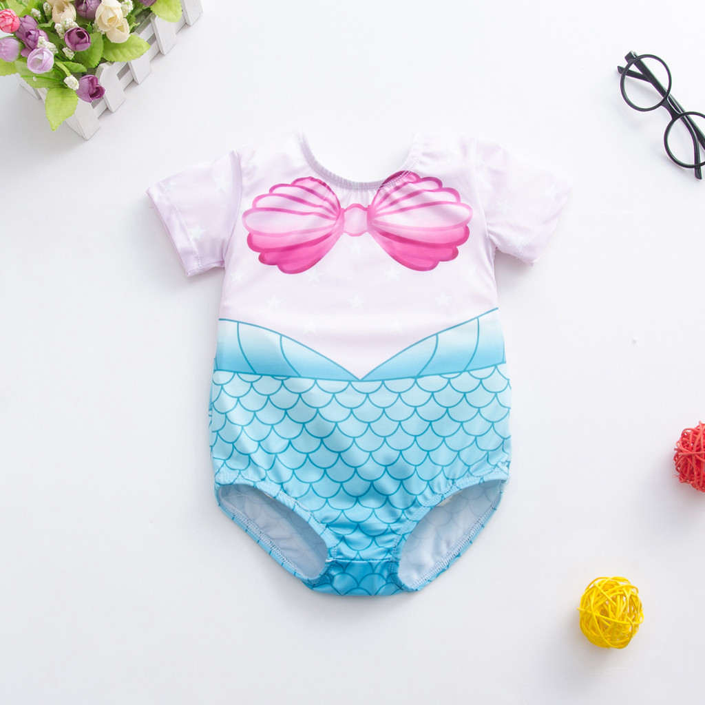 BGIRLS Baby Girls One Piece Swimsuits Doll Print Ruffle One Shoulder Swimwear Bathing Suit for Costume with Necklace