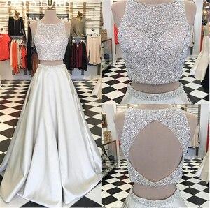 Роскошное платье Quinceanera с кристаллами, бальное платье из 2 частей с оборками, Тюлевое платье для выпускного вечера 16