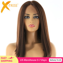 Medium Brown Synthetic Hair Lace Front Wigs High Temperature Fiber X TRESS Yaki Straight Short Bob Blunt Lace Wig Middle Part