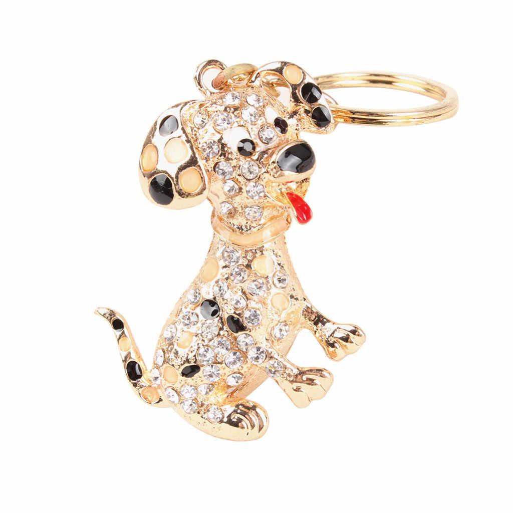 Dessin animé mignon alliage or cristal chien porte-clés filles sac pendentif voiture porte-clés porte-clés bijoux accessoires cadeaux
