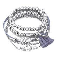 цена 1 Set Fashion Men Women Charm Bracelet Personality Anklet Fringed Bead Chain Beach Style Jewelry