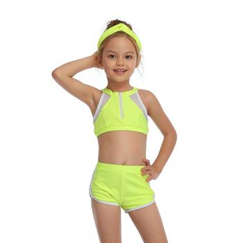 2-14 Years Toddler and Teen Girls Athletic Swimsuits High Neck Front Zipper Sports Crop Top With Boyshorts Kids Bathing Suit - Green, Girl 104 2-3T