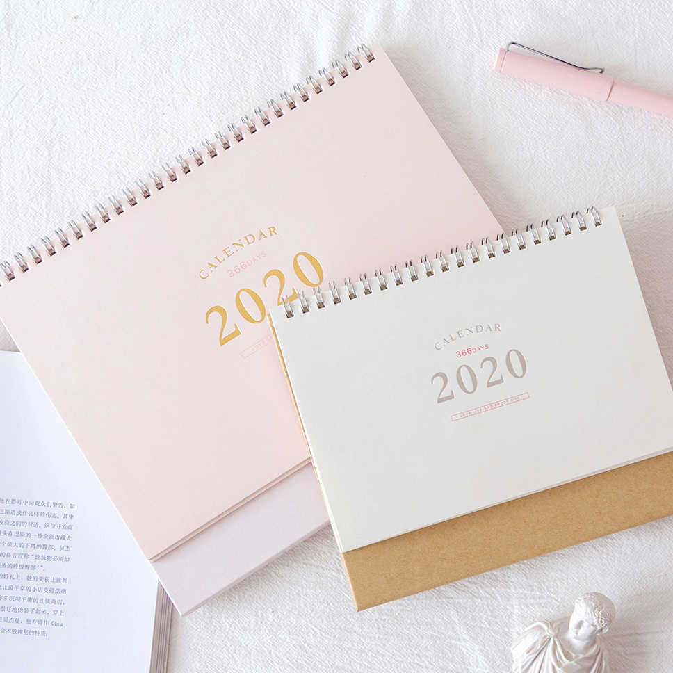 2020 NEW Kawaii Cute 2 Size Solid Color Calendar Coil Schedule Creative Desk Table Dates Reminder Timetable Planner sl2136