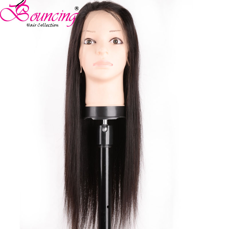 Wigs Full-Lace Baby-Hair Human Straight Brazilian Bouncing with Density 200 Pre-Plucked