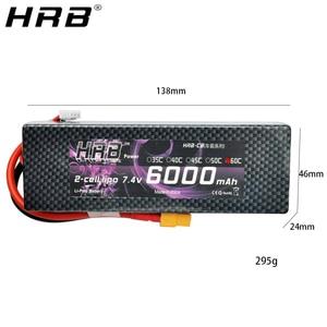 Image 3 - HRB Lipo סוללה 2S 7.4V 6000mAh 60C XT60 T דיקני TRX EC5 XT90 RC חלקי מקרה קשה עבור Traxxas מטוסי מכוניות סירות 4x4 1/8 1/10