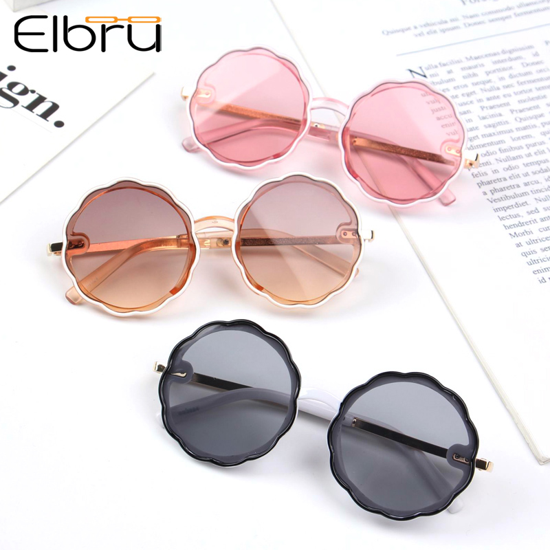 Elbru Flower Round Cute kids sunglasses UV400 for Boy girls toddler Lovely baby sun glasses Children Oculos de sol