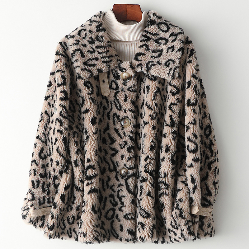 Spring Winter Thick Warm Fur Leopard Turn Down Collar Coat Classic Wool Real Fur Jackets Pockets Print High Quality Outwear