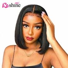 Krótki Bob koronki przodu włosów ludzkich peruk dla czarnych kobiet brazylijski Remy włosy Bob peruka z dzieckiem włosy Pre oskubane prosto 13x4 koronkowa peruka