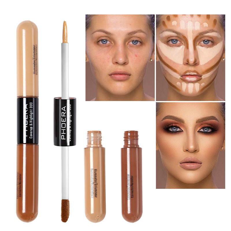 5 Colors Double Head Concealer Foundation Liquid Refreshing Moisturizing  Long Oil Control Nourishing Brighten Skin Color TSLM1