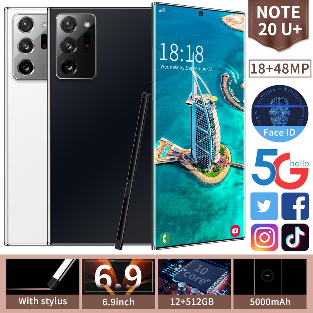 Débloqué 4G téléphone portable intelligent Note20U + Smartphone plein écran 10-core 512 GB Android 10.0 doigt Face ID double caméra
