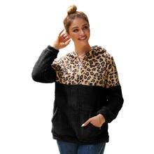 Hoodies Women 2019 Winter Autumn New Long-sleeved Sweatshirt Leopard Patchwork Hooded Top Clothes Oversize Streetwear