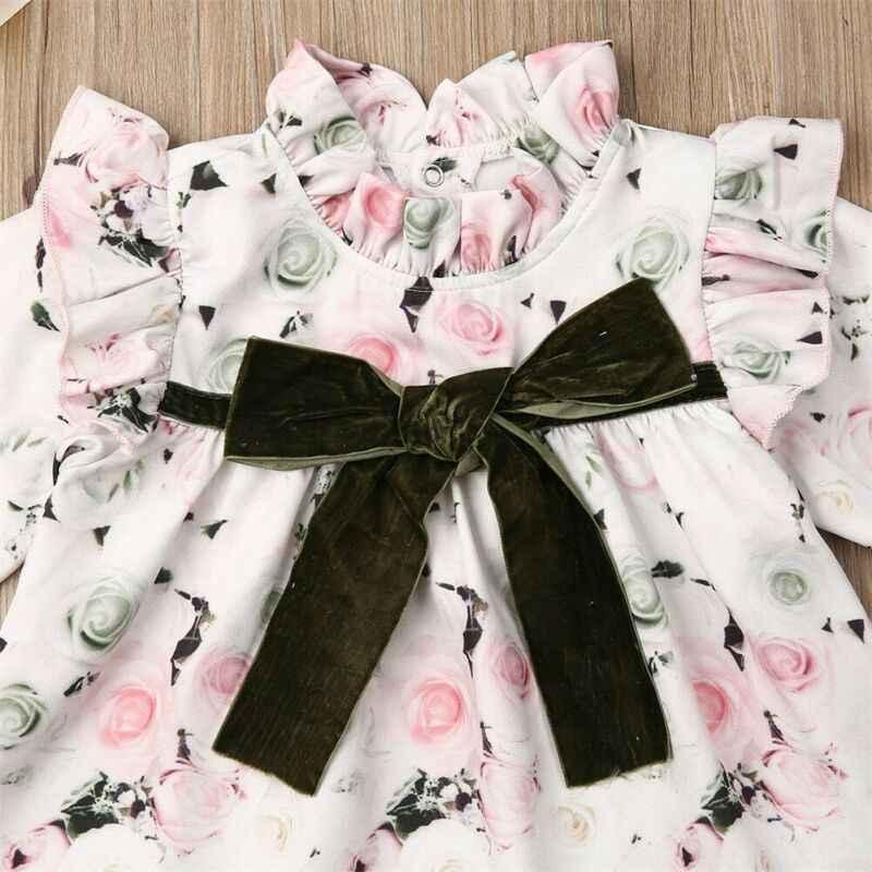נסיכת פעוט יילוד תינוק ילד ילדה פרח שמלת תחרה קשת טוטו מסיבת חתונה יום הולדת שמלות ארוך שרוול תלבושות