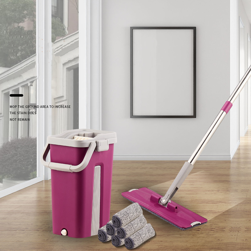 Mop Bucket Lazy-Fellow Floor Cleaning Super-Fiber Automatic Wooden Home with Plane Dual-Purpose-Mop