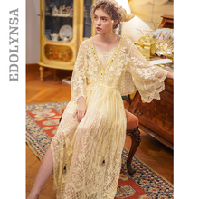 Embroidery Floral Sleepwear Victoria Vintage Lace Nightgown Women Home Wear Night Dress Ladies Nightwear Lingerie Nighty T717