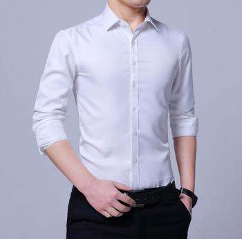 New 2020 Spring Men's Pure Color Shirt Long Sleeve Slim Fashion Casual Inch Shirt Men's Shirt k3310-1-9