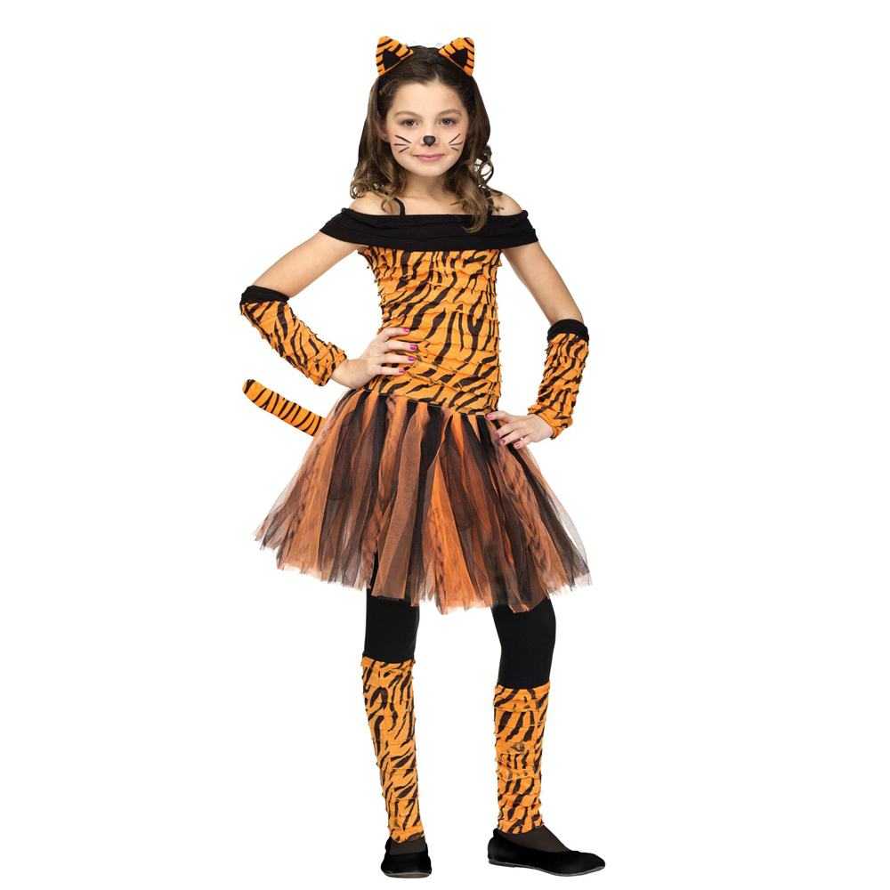 Snailify Girls Zebra Costume Kids Tiger Costume Child Tigress Cosplay Halloween Costume Purim Carnival Party