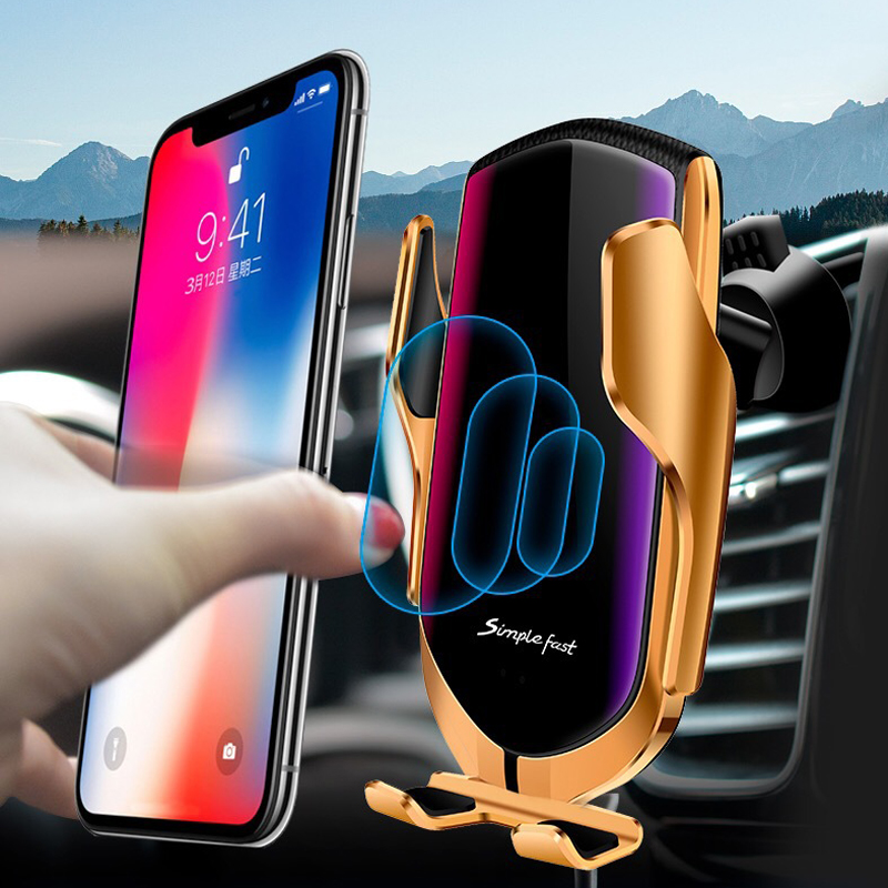 R1 Car Qi Wireless Charger Smart Automatic Clamping 10w Fast Charging Air Vent Mount GPS Mobile Phone Holder Grip Stand Bracket