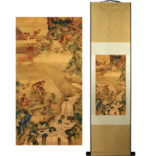 ShaoFu Monkey Silk Art Scroll Paintings Chinese Traditional Prints Famous Painting Home Office Decoration Ink Gift