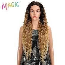 Sihirli saç sapıkça kıvırcık tutkalsız yüksek sıcaklık Fiber saç 32 inç doğal sarışın sentetik dantel ön peruk siyah kadınlar için