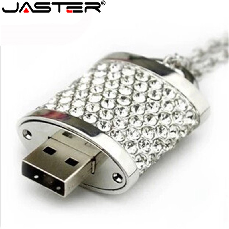 JASTER Personalized Creative Jewelry Crystal Rhinestone Lock Usb Flash Drives 32gb 64GB Usb 2.0 Diamond Necklace Pendrive Gift