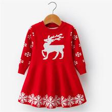 Dziewczęca sukienka świąteczna z pełnym rękawem śnieżynka drukuj księżniczka sukienka dla dzieci Cartoon renifer nowy rok kostium dla dziewczynek 3-8T tanie tanio NNJXD CN (pochodzenie) COTTON Poliester Wiskoza Kolan REGULAR O-neck Pełna Śliczne Pasuje prawda na wymiar weź swój normalny rozmiar